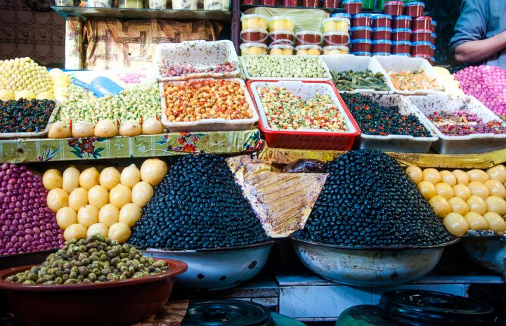 Homemade sweets stall in the Fes medina.