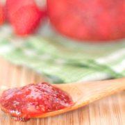 strawberry chia jam on a spoon