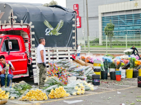 Two men outside of a red truck at Plaza de Paloquemao. Bunches of flowers are on the ground and in buckets around them as they pack up for the day.