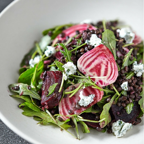 Beet & Lentil Salad with Herbed Goat Cheese
