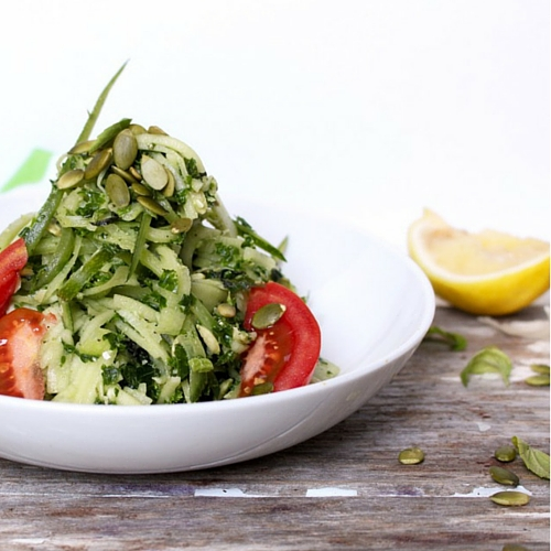 Zucchini Noodles Pumpkin Seed Pesto by Chronicles of Passion