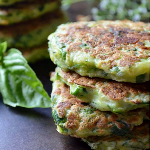 A stack of 3 zucchini fritters