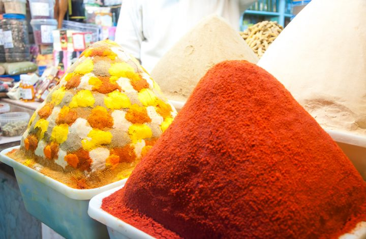 Two piles of fresh spices in the Fes medina.
