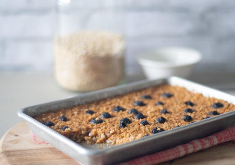 Sweet Potato Blueberry Baked Oatmeal on a Sheet Pan